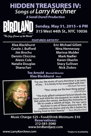 Songwriter Larry Kerchner & Top Singers Debut at Birdland