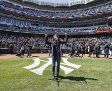 Bright Star's Carmen Cusack at Yankee's Opening Day