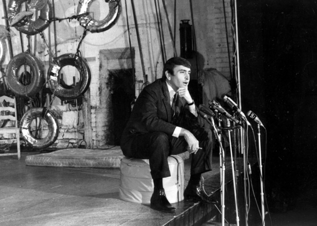 "FILE - In this May 2, 1967, file photo, playwright Edward Albee, winner of the 1967 Pulitzer Prize for drama, for his play ""A Delicate Balance,"" talks to reporters during a news conference at the Cherry Lane Theater in the Greenwich Village section of New York. The three-time Pulitzer Prize-winning playwright has died in suburban New York City at age 88. Albee assistant Jackob Holder says the playwright died Friday, Sept. 16, 2016, at his home on Long Island. No cause of death has been given. (AP Photo/File)"