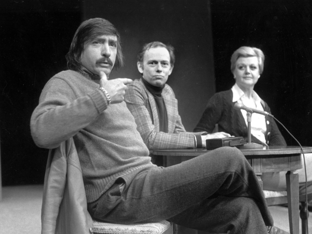 FILE - In this Jan. 27, 1977, file photo, playwright Edward Albee, left, makes a point as director Paul Weidner, center, and actress Angela Lansbury look on during a news conference in Hartford, Conn. The three-time Pulitzer Prize-winning playwright, Albee has died in suburban New York City at age 88. Albee assistant Jackob Holder says the playwright died Friday, Sept. 16, 2016, at his home on Long Island. No cause of death has been given. (AP Photo/File)