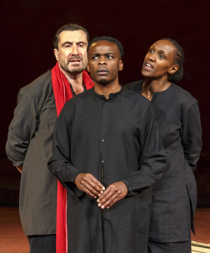 From left: Sean O'Callaghan; Ery Nzaramba & Carole Karemera; in US Premiere of BATTLEFIELD C.I.C.T.—Théâtre des Bouffes du Nord Based on The Mahabharata and the play written by Jean-Claude Carrière Adapted and directed by Peter Brook and Marie-Hélène Estienne selected scenes photographed: Wednesday, September 28, 2016; 3:00 PM at the BAM Harvey Theater; Brooklyn Academy of Music, NYC; Photograph: © 2016 Richard Termine PHOTO CREDIT - Richard Termine