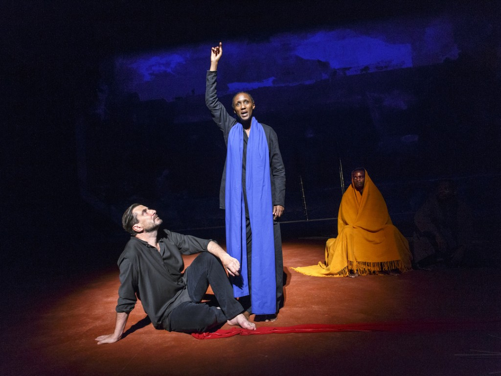 From left: Sean O'Callaghan; Carole Karemera & Ery Nzaramba in US Premiere of BATTLEFIELD C.I.C.T.—Théâtre des Bouffes du Nord Based on The Mahabharata and the play written by Jean-Claude Carrière Adapted and directed by Peter Brook and Marie-Hélène Estienne selected scenes photographed: Wednesday, September 28, 2016; 3:00 PM at the BAM Harvey Theater; Brooklyn Academy of Music, NYC; Photograph: © 2016 Richard Termine PHOTO CREDIT - Richard Termine