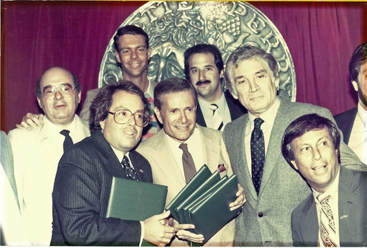 La Cage: left to right: Marvin Kraus, Alan Carr, Fritz Holtz, Jerry Herman, Stewart F. Lane, Gene Barry, Barry Brown