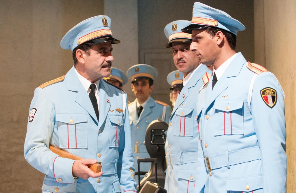 (l-r) Tony Shalhoub, George Abud, Alok Tewari, Ari'el Stachel in Atlantic Theater Company's world premiere musical The Band's Visit, directed by David Cromer, featuring a book by Itamar Moses and original score by David Yazbek. Opening December 8, 2016 at The Linda Gross Theater (336 West 20 Street). Photo: Ahron R. Foster.